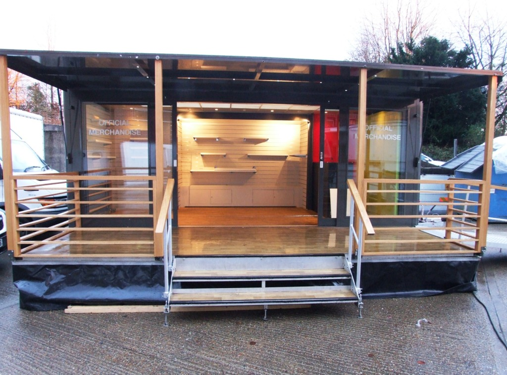 Mobile shop exhibition trailer front view